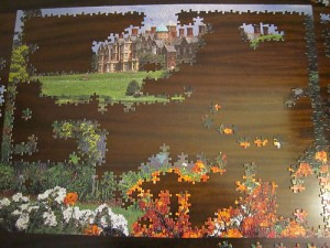 A partially completed 1000 piece jigsaw